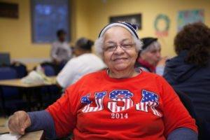 Woman wearing USA Shirt