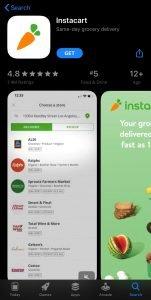 Screenshot of Instacart Application on iPhone