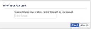 Screenshot on Facebook of Account Retrieval