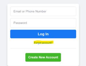 Screenshot of Facebook Log In Page
