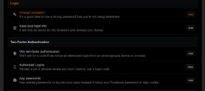 Screenshot of Facebook Settings